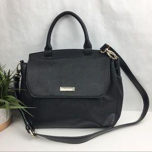 Tahari Black Pebbled Leather Snap Crossbody Purse